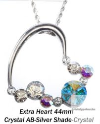 """Swarovski kristályos nemesacél  medál """"különleges szív forma"""" Jet-Black diamond"""