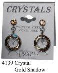 Lyukas bedugós-Gold shadow színű swarovski kristályos acél allargiamentes fülbevaló
