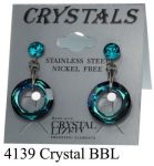Lyukas bedugós-crystal_bbl_ színű swarovski kristályos acél allargiamentes fülbevaló