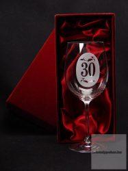 Borospohár 30. születésnapra díszdobozban