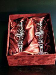 Kristály pohár esküvői készlet gravírozva