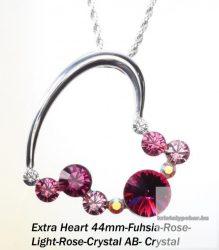 """Swarovski kristályos nemesacél  medál """"különleges szív forma"""" Fuhsia"""