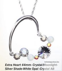 """Swarovski kristályos nemesacél  medál """"különleges szív forma"""" Crystal moonlight"""