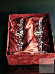 Kristálypohár esküvői készlet gravírozva