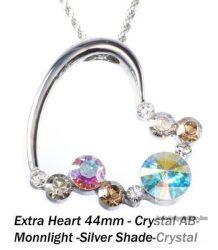 """Swarovski kristályos nemesacél  medál """"különleges szív forma"""" Crystal """"AB"""""""