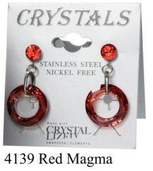 Lyukas bedugós-red magna színű swarovski kristályos acél allargiamentes fülbevaló