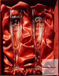 Esküvői készlet négyszögletes kristály pezsgős pohár