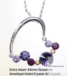 """Swarovski kristályos nemesacél  medál """"különleges szív forma"""" Amethyst"""
