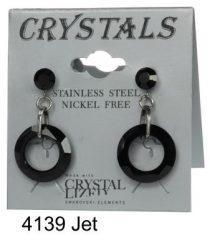 Lyukas bedugós-Jet színű swarovski kristályos acél allargiamentes fülbevaló