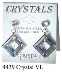 Lyukas bedugós-crystal-vl színű swarovski kristályos acél allargiamentes fülbevaló
